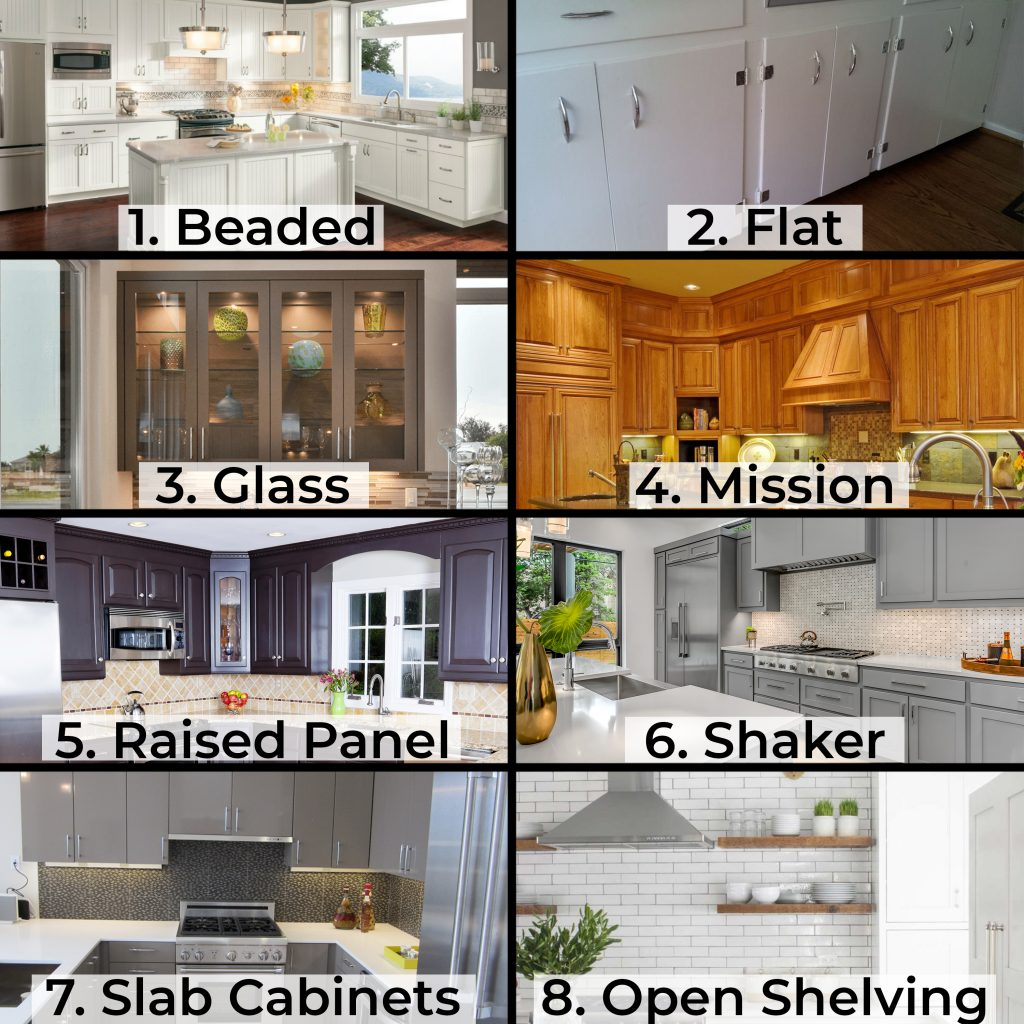 collage of the different styles of kitchen cabinets