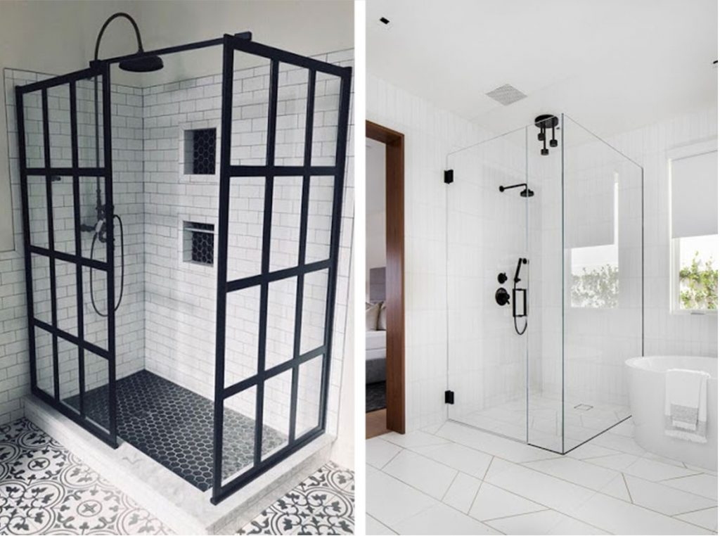 curbed and curbless shower stall comparison